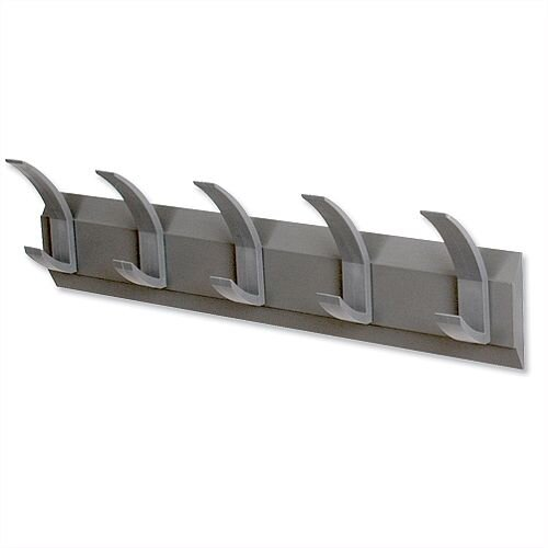 Hat and Coat Wall Rack with Concealed Fixings 5 Hooks Graphite Acorn Linear