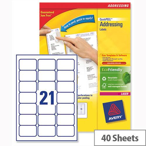 Avery L7160-40 Address Labels Laser 21 per Sheet 63.5x38.1mm White 840 Labels