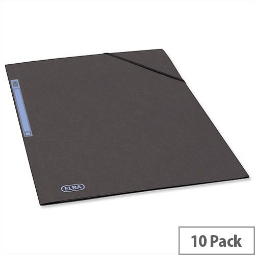 Elba Elasticated Folder 3 Flap 300 Sheets A4 Foolscap Black Pack 10