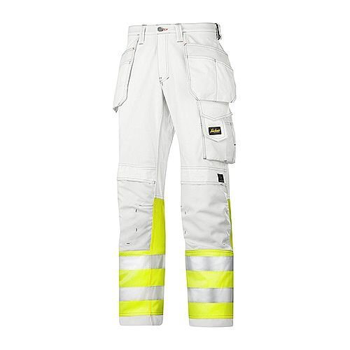 """Snickers 3234 Painters High-Vis Trousers Class 1 Size 48 33""""/32"""" White/Hi-Vis Yellow"""