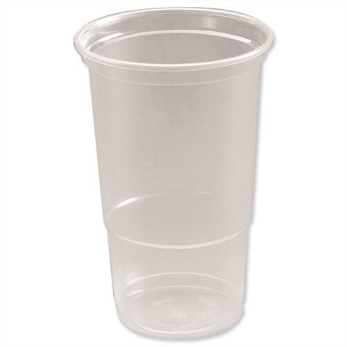 Disposable Plastic Pint Glasses Clear Tumbler Glasses (475ml) Pack of 50