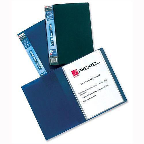 Rexel Plastic 60 Pocket Display Book A4 Black Full Length Spine