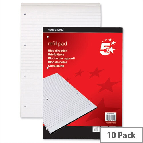 A4 Refill Pad Headbound Feint Ruled 4 Hole Punched 80 Sheets 60gsm Pack of 10 5 Star