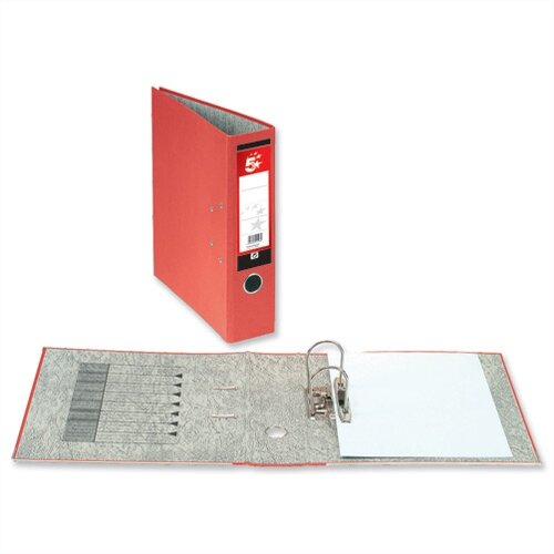 5 Star Office Lever Arch File 70mm Foolscap Red Pack 10