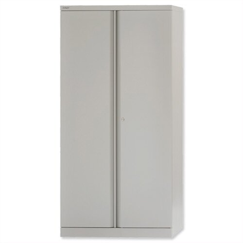 Bisley 1 Shelf Grey Steel Cupboard 2 Door Height 1806mm – 1-Shelf, 5-Year Warranty, Already Assembled, Magnetic Door Catch & Two-Point Locking System (A722W00-73)