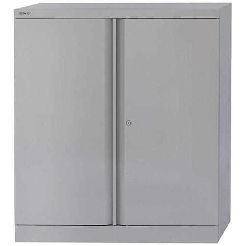 Bisley 1 Shelf Grey Steel Cupboard 2 Door Height 1016mm – 1-Shelf, 5-Year Warranty, Already Assembled, Magnetic Door Catch & Two-Point Locking System (A402W11-73)