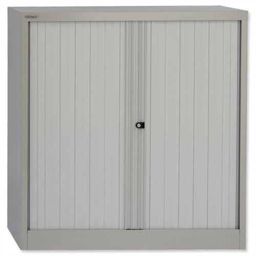 Bisley Tambour Cupboard Grey Steel Side-Opening W1000xD470xH1016mm AST40W-73