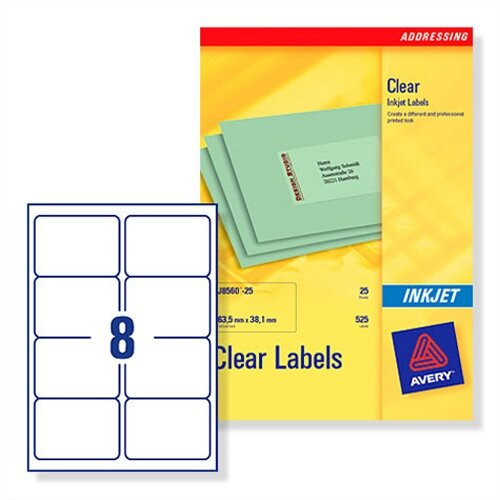 Avery 8 Per Sheet Clear Label (Pack Of 200) Buy Online At