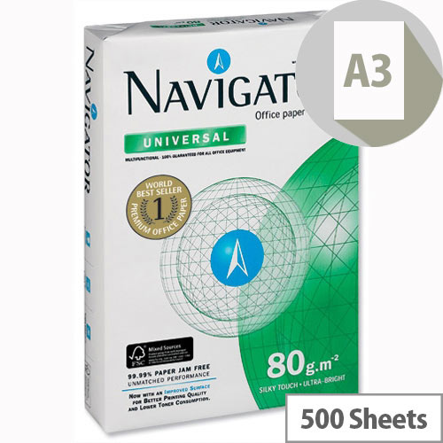 Navigator Universal A3 80gsm White Printer Paper Ream of 500 Sheets