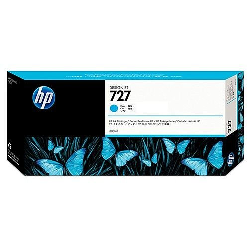 HP 727 Cyan (Dye) 300ml Original DesignJet Ink Cartridge F9J76A