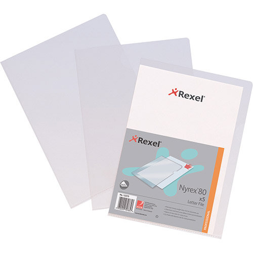 Rexel Nyrex 80 Letter File Folder Cut Flush Embossed 80/LF/A4 A4 Clear Ref 12280 [Pack 25 x 4]