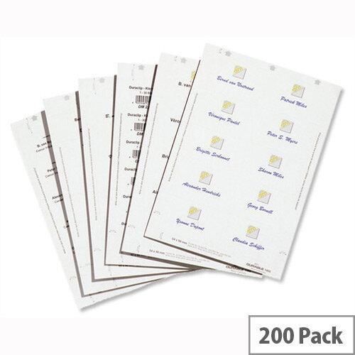 Duraprint Badgemaker Inserts 54 x 90mm Pack 200 Durable