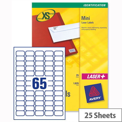 Avery J8651-25 Mini Labels Inkjet 65 per Sheet 38.1 x 21.2mm White 1625 Labels