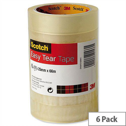 3M Scotch Easy Tear Transparent Tape 24mm x 66m Ref ET2566T6 [Pack 6]