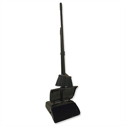 Heavy Duty Long Handled Dustpan and Brush Set With Lid Black