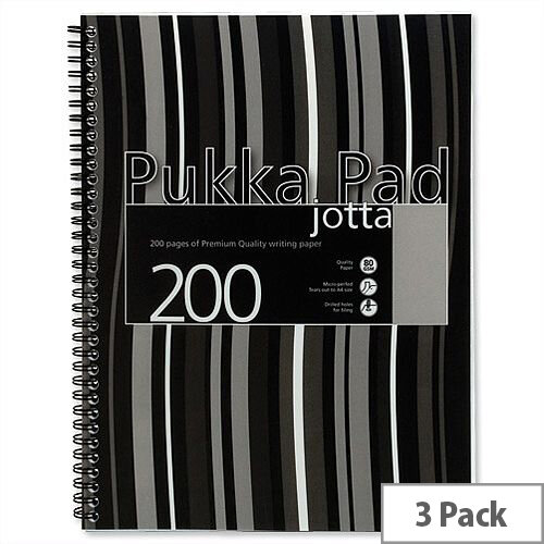Pukka Pad Jotta A4 Notebook Wirebound Plastic Punched 200 Pages Black Stripes Pack 3