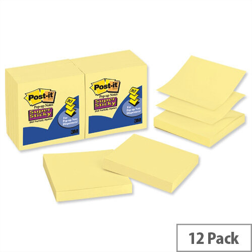 Post-it Super Sticky Z Notes 76x 76mm Canary Yellow Pack 12