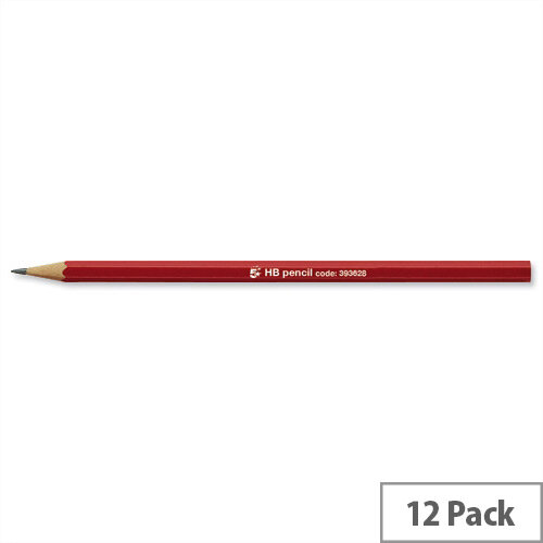 HB Pencil Red Barrel Pack 12 5 Star