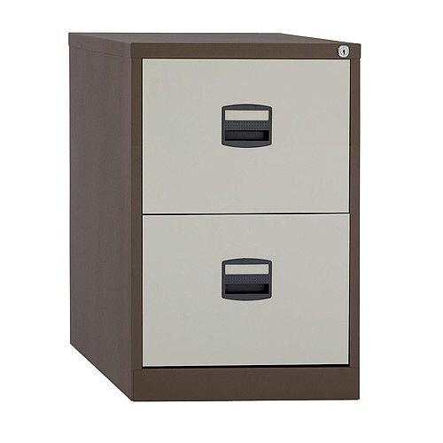 2 Drawer Steel Filing Cabinet Lockable Brown &Cream Trexus By Bisley