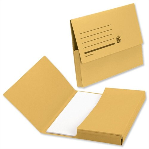 Document Wallet 285gsm Foolscap Yellow Pack 50 5 Star