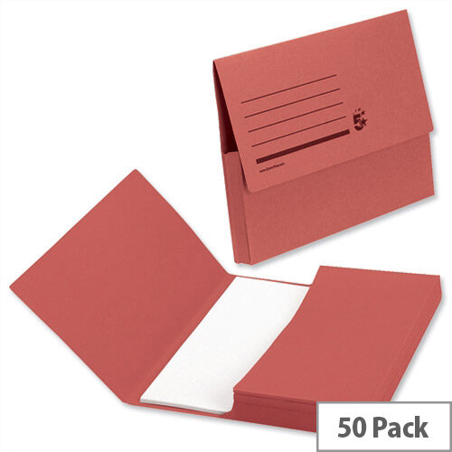 Document Wallet 285gsm Foolscap Red Pack 50 5 Star