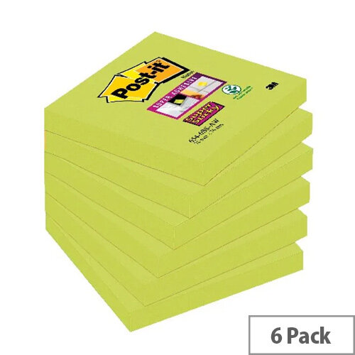 Post-it Notes Super Sticky 76 x 76mm Asparagus Green Pack of 6 654-6SS-AW