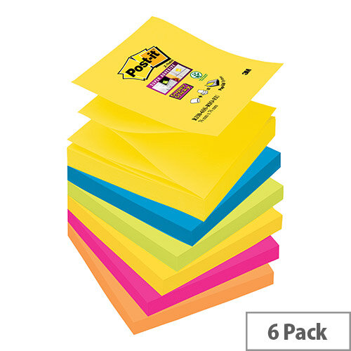 Post-it Super Sticky Z-Notes 76x76mm Pad 90 Sheets Rio Ref R330-6SS-RIO-EU Pack 6