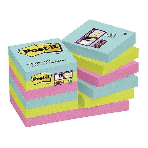 Post-it Super Sticky Notes Miami 47.6 x 47.6mm 622-12SS-MIA