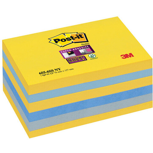 Post-it Super Sticky 76 x 127mm New York Pack of 6 655-SS-NY