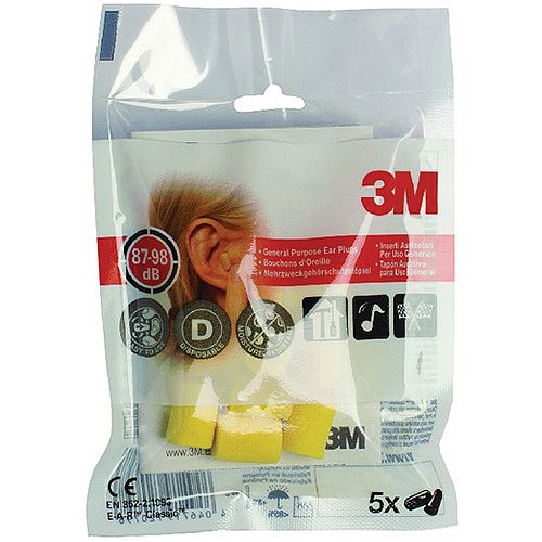 3M E-A-R Classic Extra Soft Ear Plugs 28dB High Visibility Yellow Pack 5 - Uncorded ear plugs made of soft energy absorbing polymer foam - Conform to EN352-2:1993