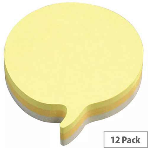 3M Post-it Diecut Cube Speech Bubble 225 Sheets Yellow Pack of 12 3M37917