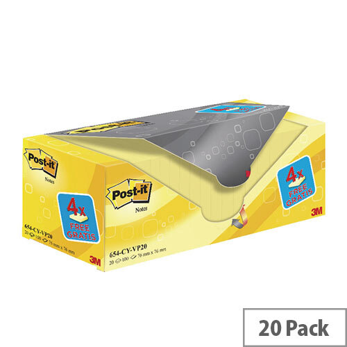 Post-it Notes 76 x 76mm Canary Yellow Value Pack of 20 654CY-VP20