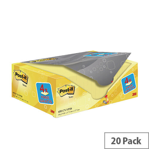 Post-it Notes 76 x 127mm Canary Yellow Value Pack of 20 655CY-VP20