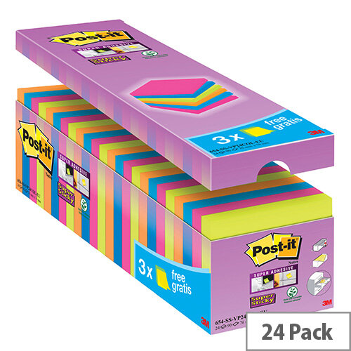 Post-it Notes Super-Sticky 76 x 76mm Assorted Value Pack (24 Pack) 654-SS-VP24COL-EU