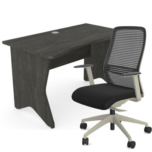 Home Office Medici Desk W1200xD700mm 25mm Desktop &Legs Carbon Walnut &NV Posture Office Chair with Contoured Mesh Back and Adjustable Lumbar Support Lime White Frame Black Seat