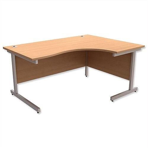 Office Desk Radial Right Hand Silver Legs W1600xD1200xH725mm Beech Ashford