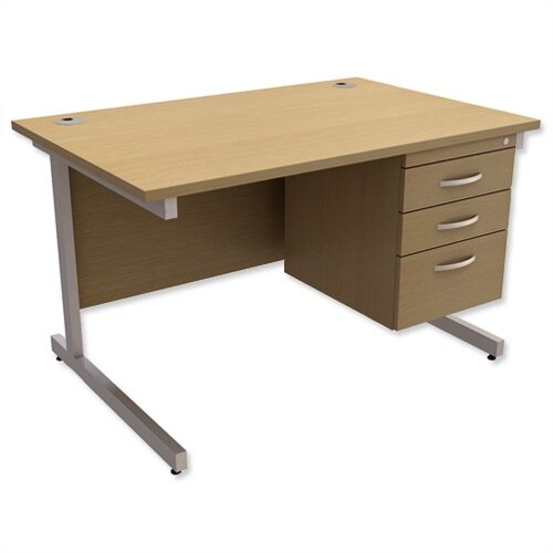 Rectangular Office Desk With Fixed 3-Drawer Pedestal Silver Legs W1200mm Urban Oak Ashford – Cantilever Desk &Extra Storage , 25 Year Warranty