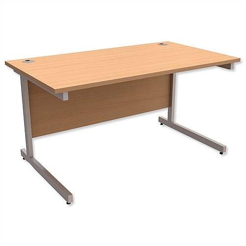 Office Desk Rectangular Silver Legs W1400mm Beech Ashford