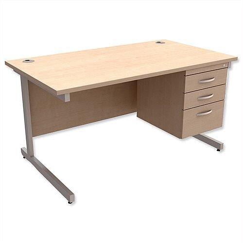 Rectangular Office Desk With Fixed 3-Drawer Pedestal Silver Legs W1400mm Maple Ashford  – Cantilever Desk &Extra Storage , 25 Year Warranty