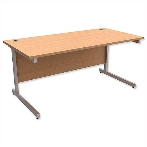 Office Desk Rectangular Silver Legs W1600mm Beech Ashford