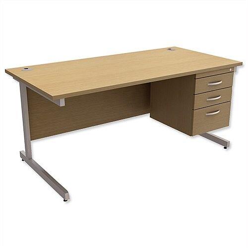 Rectangular Office Desk With Fixed 3-Drawer Pedestal Silver Legs W1600mm Urban Oak Ashford  – Cantilever Desk &Extra Storage , 25 Year Warranty