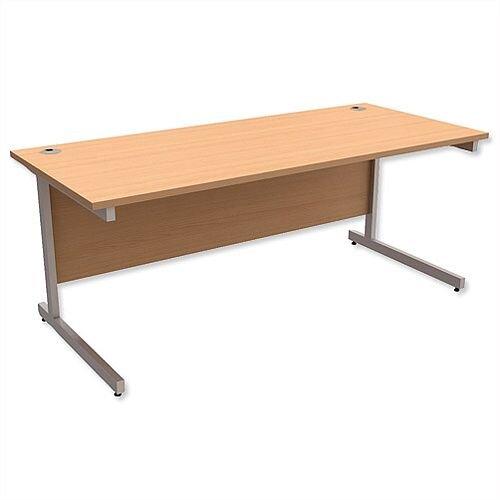 Office Desk Rectangular Silver Legs W1800mm Beech Ashford