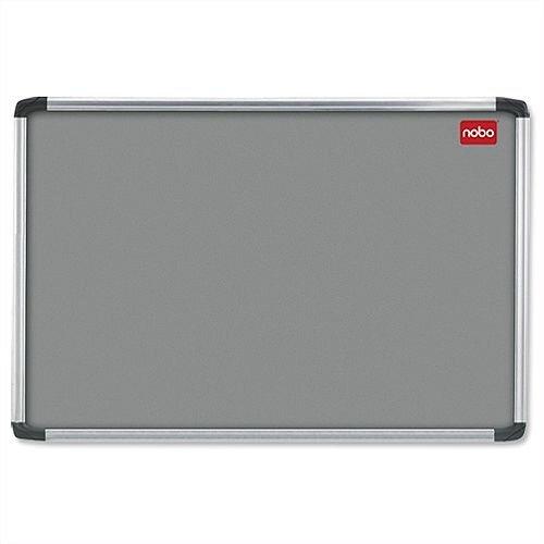 Nobo Grey Felt Notice Board Aluminium Frame with Fixings 1500 x 1000mm