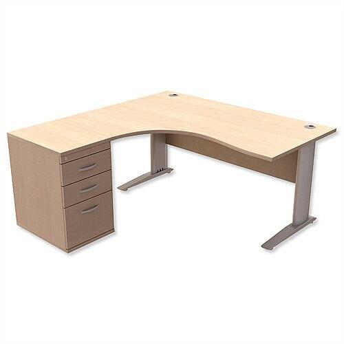Radial Office Desk Left Hand with 600mm Desk-High Pedestal W1600xD1600xH725mm Maple Komo