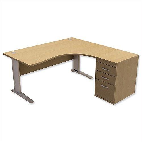Radial Office Desk Right Hand with 600mm Desk-High Pedestal W1600xD1600xH725mm Urban Oak Komo