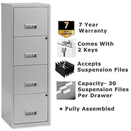 Pierre Henry A4 4 Drawer Steel Filing Cabinet Lockable Silver
