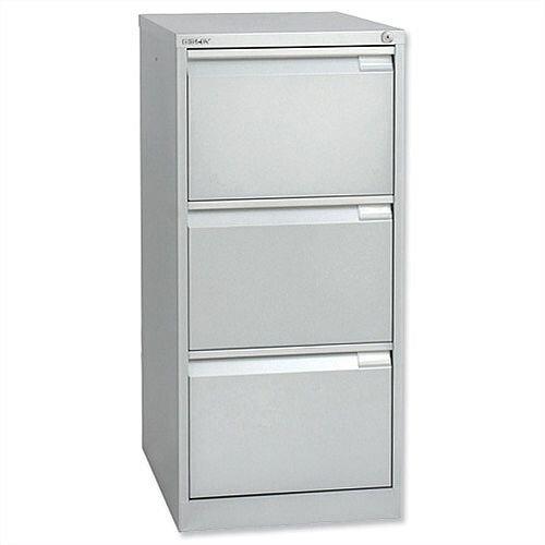 3 Drawer Steel Filing Cabinet Flush Front Silver Bisley BS3E