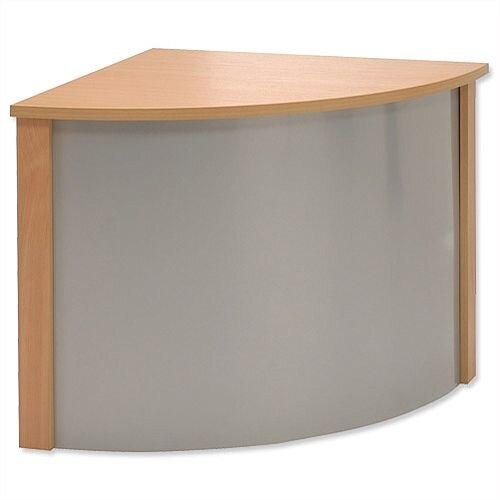 Reception Corner Desk W800xD300xH370mm Silver and Beech Ashford