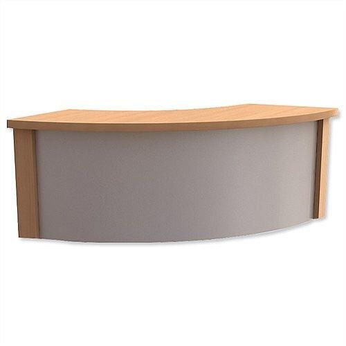 Reception Corner Desk Riser W800xD300xH370mm Silver and Beech Ashford