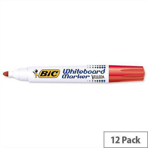 Bic Velleda 1701 Red Whiteboard Marker Bullet Tip Pack 12